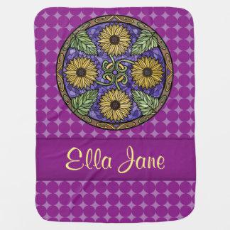 Mandala Bright Sunflowers Purple Name Custom Baby Blanket