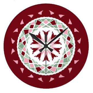 Mandala burgandy, green, pink mosaic large clock
