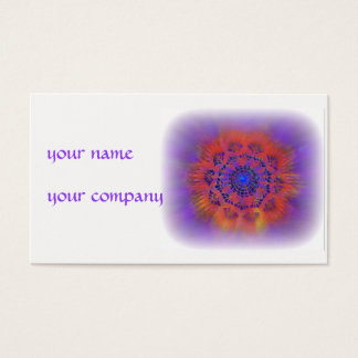 mandala business card purple orange blue on white