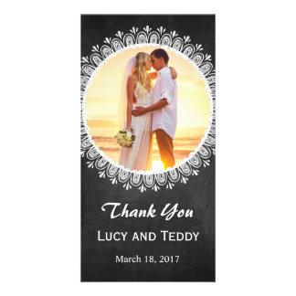Mandala Chalkboard Wedding Photo Thank You Card Personalised Photo Card