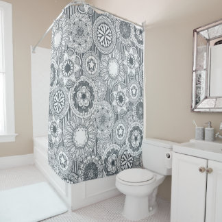 mandala cirque metal white shower curtain