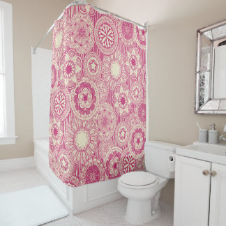 mandala cirque pink cream shower curtain