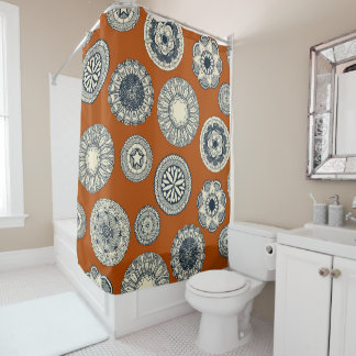 mandala cirque spot orange shower curtain