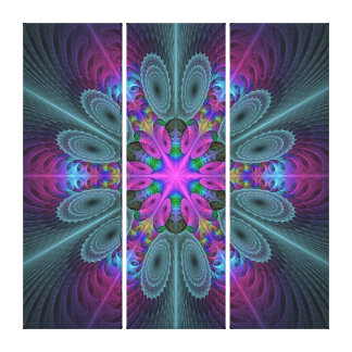 Mandala Colorful Fractal Art With Pink Triptych Canvas Print