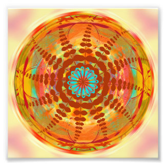 Mandala Design Flower Circle Energy Wheel Orange Photo Print
