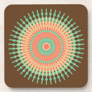 Mandala design green, orange Indian Coaster