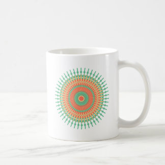 Mandala design green, orange Indian Coffee Mug