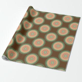 Mandala design green, orange Indian Wrapping Paper