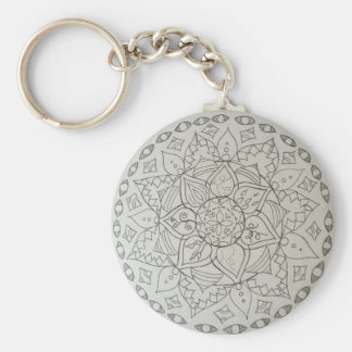 mandala elements basic round button key ring