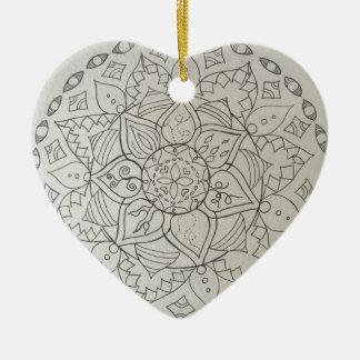 mandala elements ceramic heart decoration