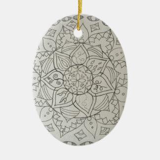 mandala elements ceramic oval decoration