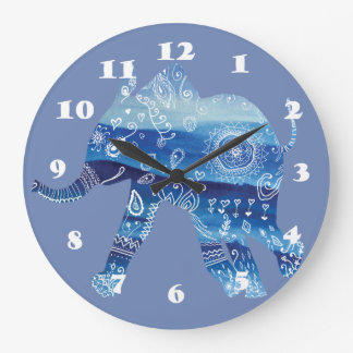 Mandala Elephant  Art Round (Large) Wall Clock