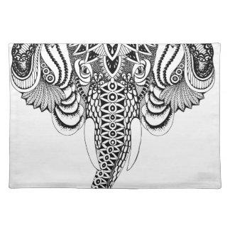 Mandala Elephant illustration, drawing. Tattoo sty Placemat