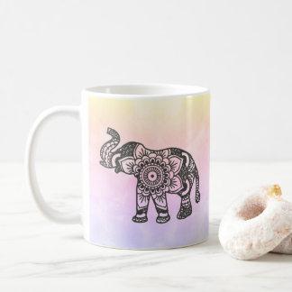 Mandala elephant on pastel watercolor mug