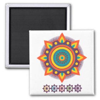 Mandala Flames Square Magnet