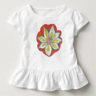 Mandala flower Drawing Toddler Ruffle Tee, White Toddler T-Shirt