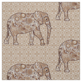Mandala flower elephant - brown and taupe fabric