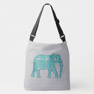 Mandala flower elephant - turquoise, grey & white crossbody bag