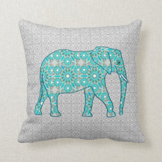 Mandala flower elephant - turquoise, grey & white cushion