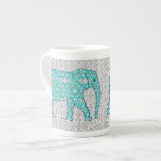 Mandala flower elephant - turquoise, grey & white tea cup
