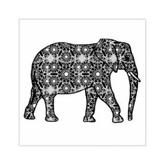 Mandala flower embellished elephant rubber stamp