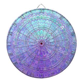 Mandala Flower in Light Blue and Purple Dartboard