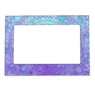 Mandala Flower in Light Blue and Purple Magnetic Picture Frame