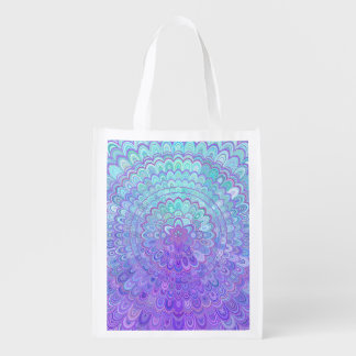 Mandala Flower in Light Blue and Purple Reusable Grocery Bag