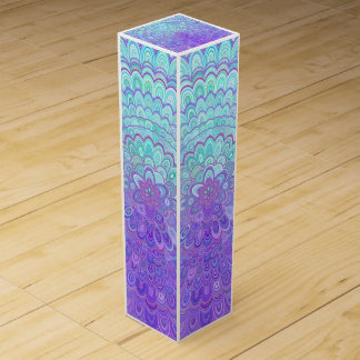 Mandala Flower in Light Blue and Purple Wine Gift Box