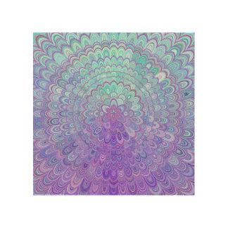Mandala Flower in Light Blue and Purple Wood Print