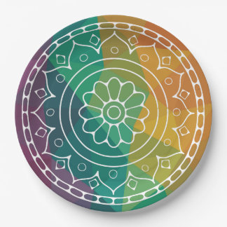 Mandala flower in rainbow low poly colorful design paper plate