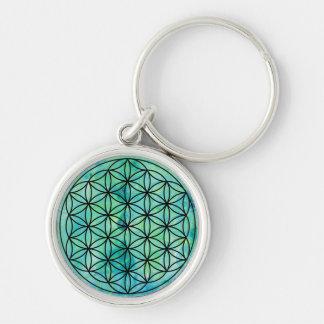 Mandala Flower of Life Monoprint Keychain