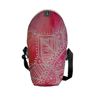 Mandala flower on watercolor background - pink courier bag