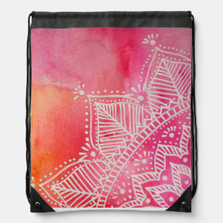 Mandala flower on watercolor background - pink drawstring bag
