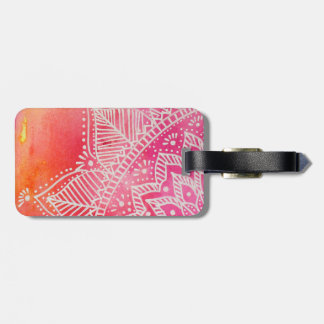 Mandala flower on watercolor background - pink luggage tag