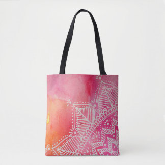 Mandala flower on watercolor background - pink tote bag