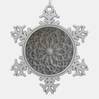 Mandala Flower Stone Pewter Snowflake Decoration