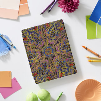 Mandala Gold Embossed on Faux Leather iPad Cover