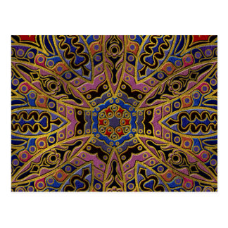 Mandala Gold Embossed on Faux Leather Postcard