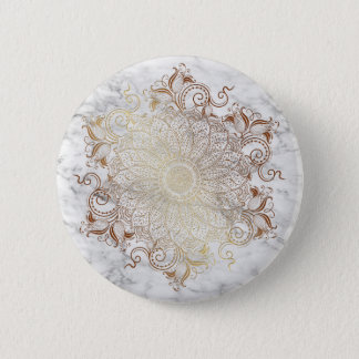 Mandala - Gold & Marble 6 Cm Round Badge