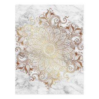 Mandala - Gold & Marble Postcard