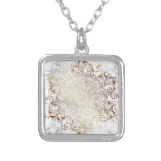 Mandala - Gold & Marble Silver Plated Necklace