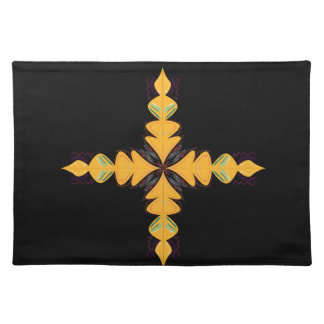 Mandala gold on black placemat