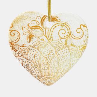 Mandala - Golden brush Ceramic Ornament