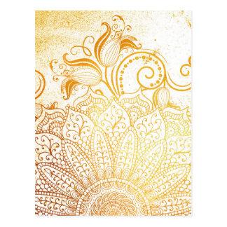 Mandala - Golden brush Postcard