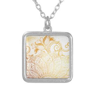 Mandala - Golden brush Silver Plated Necklace