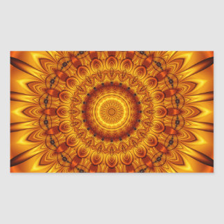 mandala golden sun rectangular sticker