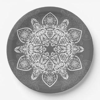 Mandala Gray and White Pattern | Paper Plate