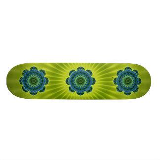 Mandala green blue | lightgreen flower skate deck