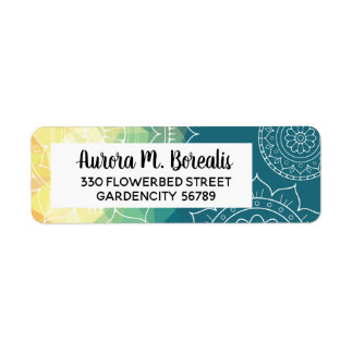 Mandala green yellow geometric address label